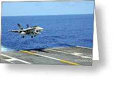 N Fa-18c Hornet Lands Aboard Greeting Card