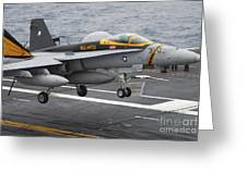 N Fa-18f Super Hornet Lands Aboard Greeting Card