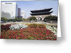 Namdaemun Gate With Flowers In Foreground Greeting Card