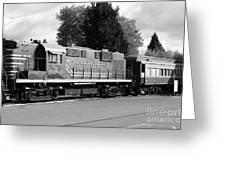 Napa Valley Railroad Wine Train Locomotive In Napa California Wine Country . Black And White . 7d899 Greeting Card