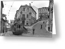 Narrow Streets And Streetcar In Lisbon Greeting Card