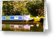 Narrowboat In Blue Greeting Card