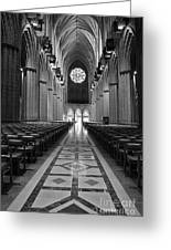 National Cathedral Interior Bw Greeting Card