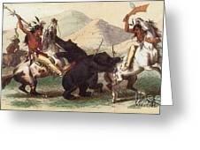 Native American Indian Bear Hunt, 19th Greeting Card