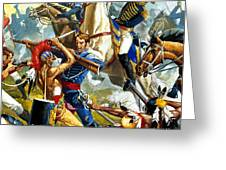 Native American Indians Vs American Soldiers Greeting Card