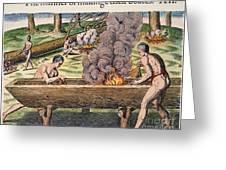 Native Americans: Canoe, 1590 Greeting Card