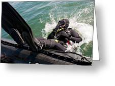 Navy Diver Dives Into San Diego Bay Greeting Card