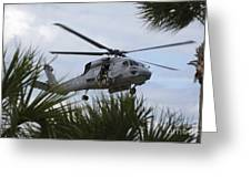 Navy Seals Look Out The Helicopter Door Greeting Card