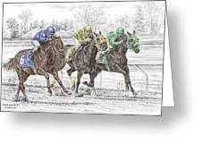 Neck And Neck - Horse Race Print Color Tinted Greeting Card