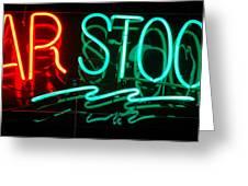 Neon Bar Stools Greeting Card