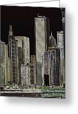 Neon Chi Town Greeting Card