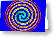 Neon Spiral Blue Greeting Card