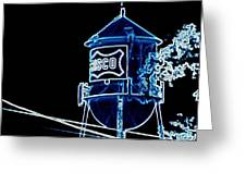 Neon Water Tower Greeting Card