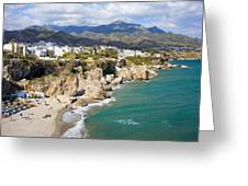 Nerja Town On Costa Del Sol In Spain Greeting Card