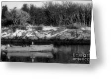 New England Skiff Bw Greeting Card