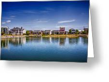 New Town On The Lake Greeting Card by Bill Tiepelman