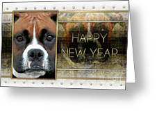 New Year - Golden Elegance Boxer Greeting Card