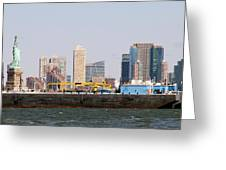 New York And The Barge Greeting Card
