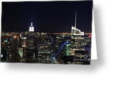 New York At Night Greeting Card by Alan Clifford