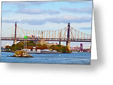 New York Bridge Water View Greeting Card
