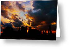 New York City Skyline At Sunset Under Clouds Greeting Card