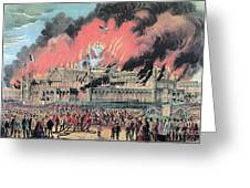 New York Crystal Palace Fire, 1858 Greeting Card by Photo Researchers