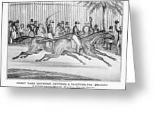 New York: Horse Race, 1845 Greeting Card