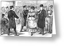 New York Police Raid, 1875 Greeting Card
