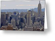 New York Skyline From The Rockefelller Greeting Card