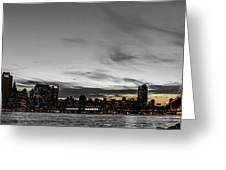 New Yorks Skyline At Night Colorkey Greeting Card