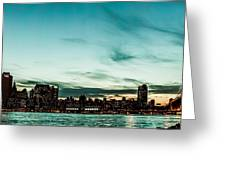 New Yorks Skyline At Night Ice 1 Greeting Card