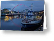 Newcastle Quayside At Night Greeting Card