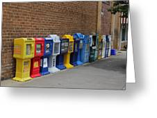 Newspaper Boxes Greeting Card