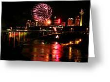 Niagara Falls Fireworks Greeting Card by Mark J Seefeldt