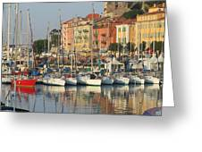 Nice Harbor Red Boat Greeting Card