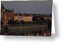 Night Along The Vlitava Greeting Card
