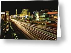 Night Exposure Of The Strip On Las Greeting Card