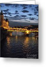 Night Fall Over The Seine Greeting Card