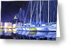Night Harbor Greeting Card