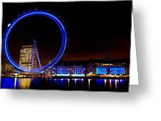Night Image Of The London Eye And River Thames Greeting Card