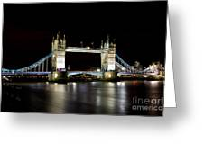 Night Image Of The River Thames And Tower Bridge Greeting Card