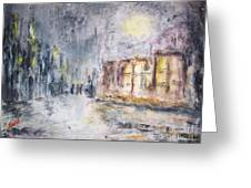 Night In The Suburb Greeting Card by Mary Sedici