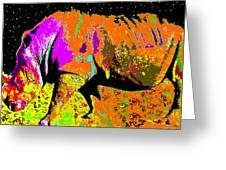 Night Of The Rhino Greeting Card