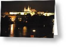 Night Time In Prague Greeting Card