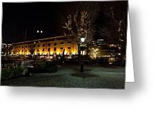 Night View Of St Katherines Dock London Greeting Card