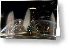 Night View Of Swann Fountain Greeting Card by Bill Cannon