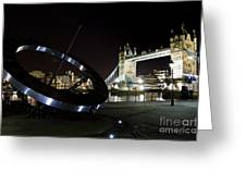 Night View Of The Thames Riverbank Greeting Card