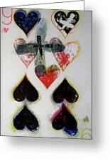 Nine Of Hearts 21-52 Greeting Card