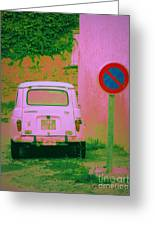 No Parking Sign With Pink Car Greeting Card
