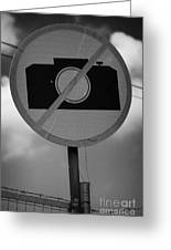 no photography sign at the greek cypriot army border post at the UN buffer zone cyprus green line Greeting Card